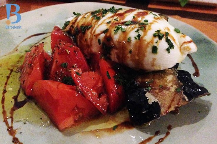 La Panxa del Bisbe Burrata de tomate y berenjena